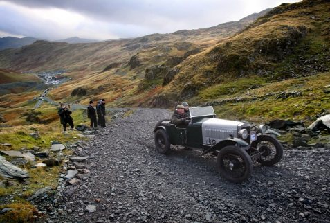Picture: Lorne Campbell / Guzelian The annual VSCC (Vintage Sports Car Club) Lakeland hillclimb section at Honister Slate Mine, Honister, Cumbria. The one in three ascent is one of the steepest hill climbs in the country and takes the vehicles up to the summit at 2137 feet high. Over 100 vintage cars from before 1930 take part.  Picture shows Phillip Tilyard driving his 1930 Frazer Nash Super Sports. PICTURE TAKEN ON SATURDAY 8  NOVEMBER 2014