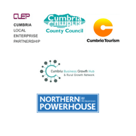 Logos for Cumbria Local Enterprise Parntership, Cumbria County Council, Cumbria Tourism, Cumbria Business Growth Hub and Norther Powerhouse